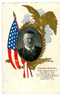 Political -PRESIDENT THEODORE ROOSEVELT- Patriotic Postcard Gold Embossed Eagle
