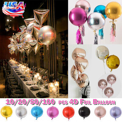 1pc22inch Gold//Silver4D Round Sphere Shaped Aluminum foil Balloon party'decorPG$