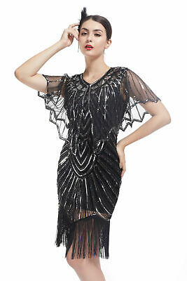 Deluxe Ladies 1920s Roaring Flapper Costume Sequin Gatsby Fancy Cocktail Dress