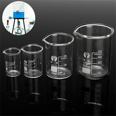 5ML - 500ML Chemistry Laboratory Clear Glass Beaker Borosilicate Measuring Cup
