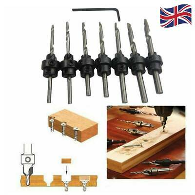 22pc Countersink Drill Bits Set Tapered Stop Collar Wood Pilot Hole