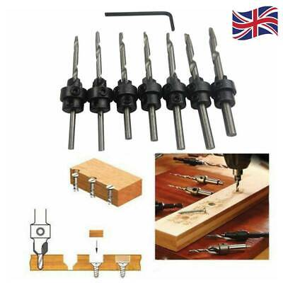 7pc Countersink Drill Bits Set Tapered Stop Collar Wood Pilot Hole