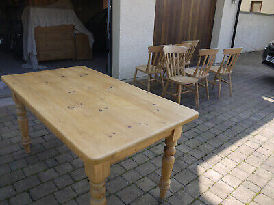 Solid Pine Antique Style Dining Table - Recently Refurbished and Rewaxed