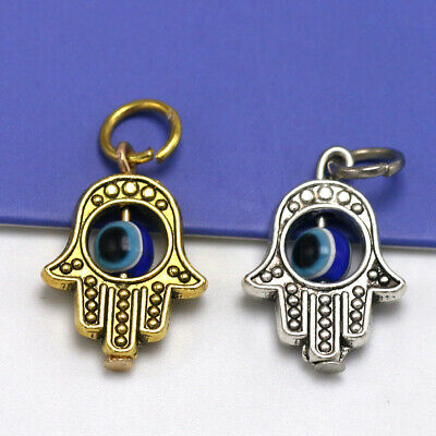 8 Evil Eye Charms Silverplated Enamel Fun and Colorful E263