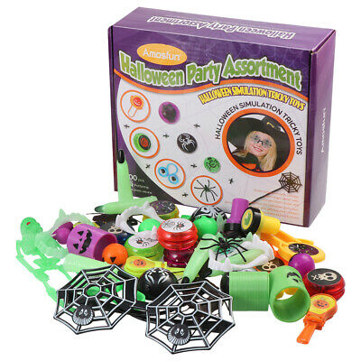 Amosfun 100PCS Halloween Toys for Trick or Treat Classroom Giveaways Party Home