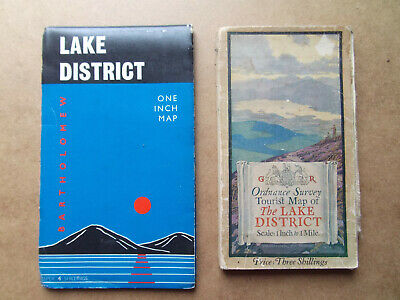 Lake District Ordnance Survey Maps  X2 One 1920'S One 1965 Both Very Good