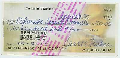 Carrie Fisher Star Wars RARE 1980 Handwritten Autographed Signed PERSONAL Check