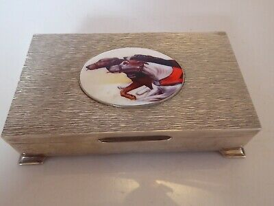 Silver Hallmarked 1976 Vintage Table Top Cigarette Box With Dog Race Enamel Plaq