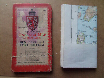 Ordnance Survey Maps 2 Old Scotland Ben Nevis & Fort William 1953 & Oban 1936