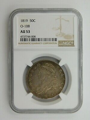 1819 Capped Bust Half Dollar O-108 NGC Graded AU 53 (131)