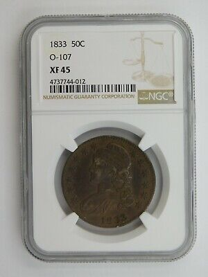 1833 Capped Bust Half Dollar O-107 NGC Graded XF 45 (125)