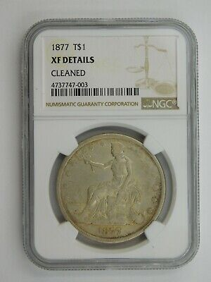1877 Silver Trade Dollar NGC Graded XF Details Cleaned (105)
