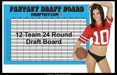"NEW 12 Team Fantasy Football Draft Kit 37""x55"" Board 480 1x4"" Player Labels"