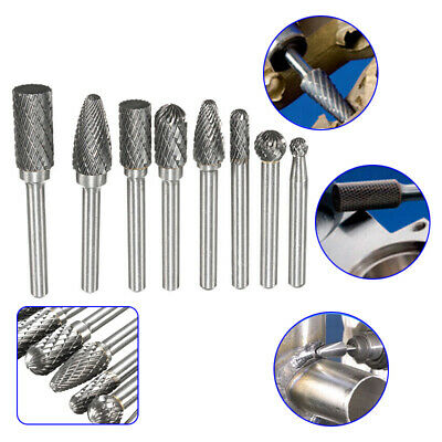 8 Pcs Double Cut Carbide Rotary Burr bits Set 1//4 Inch Shank  for die grinder