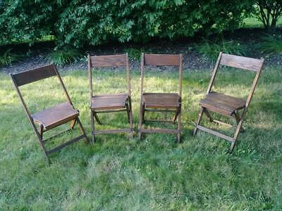 Antique Vintage Snyder Slat Wood Folding Chairs- Set of 4