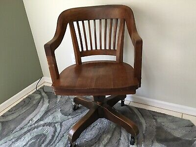 Antique Wood Office Chair~Bankers, Lawyers, Courthouse~Local PU SEBASTIAN, FL