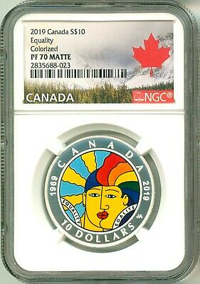2019 Canada S$10 Equality Colorized NGC PF70 Matte Mint Box & COA OGP
