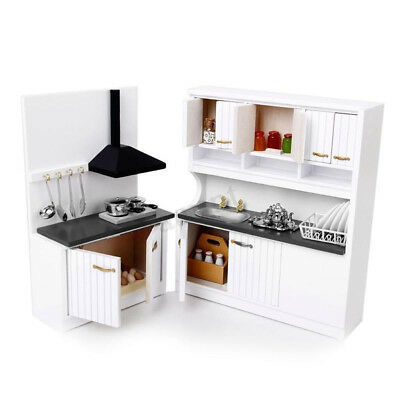 Modern Style Dollhouse Miniature Furniture Wooden Kitchen Set 1/2 Scale Toy New