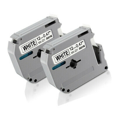 Aken 2-Pack Compatible Brother P-touch M-K231s M-231 MK231 M-K231 Label Tapes X