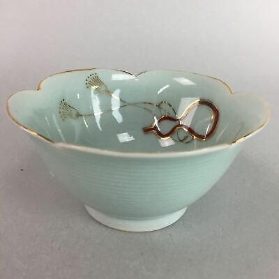 Japanese Celadon Small Bowl Vtg Porcelain Green Kobachi Gourd Chess Floral PT675