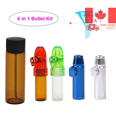 Snuff Bullet Include Small Glass Vial with Spoon Metal Snuff Bullet Plastic S...
