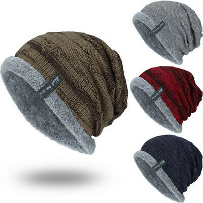 abb9d5a12ad Men's Striped Ribbed Slouchy Knit Beanie Winter Hat Warm Work Cap Soft  Toboggan