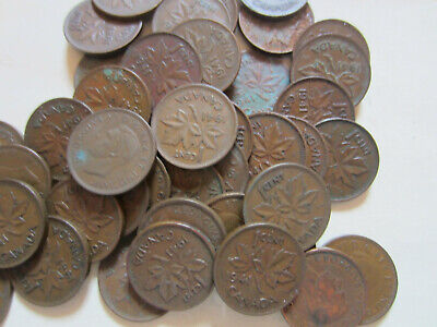 Roll of Canada King George VI Small Cents Coins. 10 Pennies of 1940 to 1943,1945