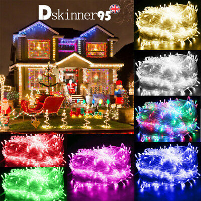 UK Waterproof LED Fairy String Lights Mains Powered 10-100M Outdoor Xmas Wedding