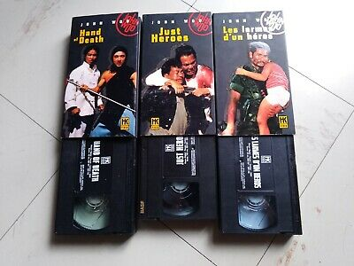 3 K7 VHS CASSETTE VIDEO - (hk vidéo) John woo. Just héros. Hand of death.......