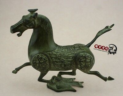 Exquisite collection old copper bronze horse riding Chebi decorative statue RT