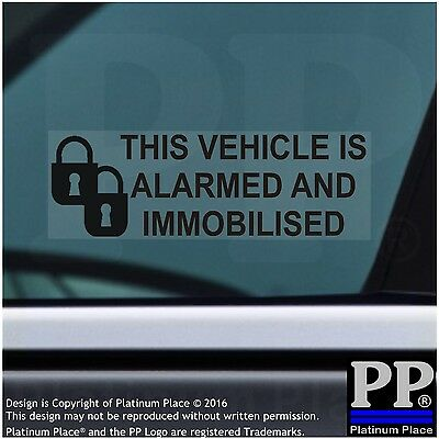 5 x Alarmed Immobilized Stickers-Car,Vehicle,Safety,Warning,Locks Window Signs-p