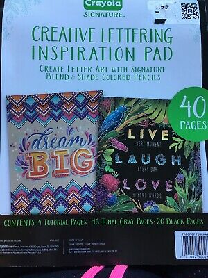 Crayola Signature Creative Lettering Inspiration Activity Pad Worksheets New