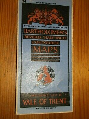 Bartholomews Vale Of Trent Vintage Cloth Map Sheet 24 Half-Inch 1944 Very Good