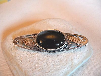 "bwb17 RETRO ARTS & CRAFTS STYLE ONYX REPRODUCTION BROOCH 2 3/4"" LONG"