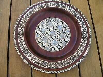 Vintage Wood Dish With Inset Mother of Pearl 20.5 cm