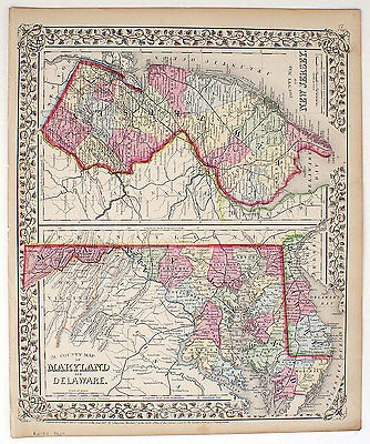 1867 Delaware Maryland New Jersey, Mitchell Antique Hand-Colored Map