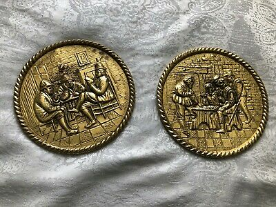 VINTAGE PEERAGE BRASS WALL PLAQUES / PLATES - SET of TWO 6 1/2'' ENGLAND