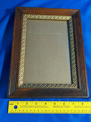 Antique Carved Wood Gold Gilt Mission Oak Picture Frame Small VTG 11.5x9, 8.5x5.
