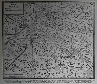 "Wonderful Vintage 1941 World War WWII Era Black & White City Map ""Paris, France"""