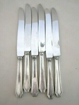 Antique Art Deco Insico Stainless Steel/Silver Plated Dinner Knife Set of 6. Vtg