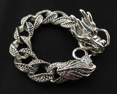Exquisite CHINESE Old TIBET SILVER COPPER HANDMADE DRAGON BRACELET RT