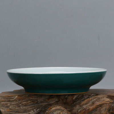 Chinese ancient antique hand make Green glazed melon fruit dish