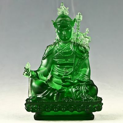 Exquisite Chinese Glaze Handwork Carved Padmasambhava Statue RT