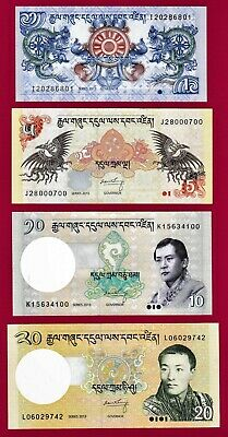 2 Bhutan 1985//1986-1 Banknote set of 3 UNC 5 Ngultrum