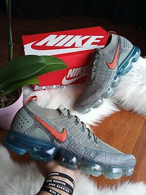 SIZE 9 MEN'S Nike Air Vapormax Flyknit 2 Dark Stucco Orange 942842 011 RUNNING