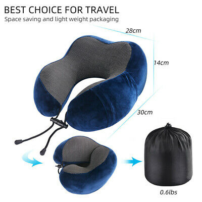Travel Pillow Head Neck Support Memory Foam Cushion With Sleep Mask Earplugs Set