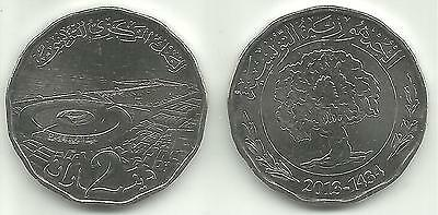 Tunisia 2 Dinars 2013 Almost Uncirculated