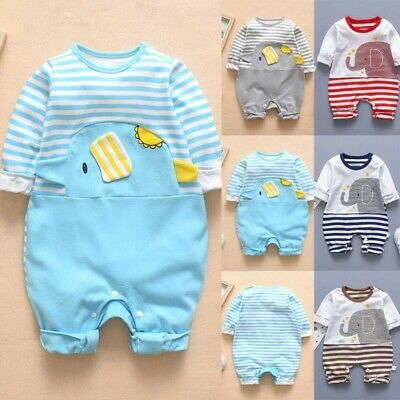 Unisex Infant Baby Boy&Girl Long Sleeve Striped Elephant Romper Jumpsuit Clothes