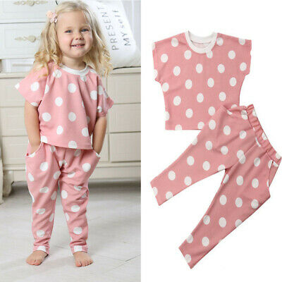 2019 Summer Toddler Kids Baby Girl Cotton Top Shirt Pants Floral Outfits Clothes