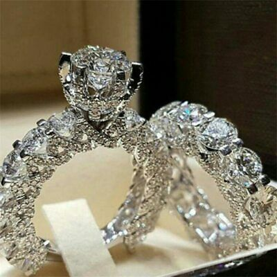 New Luxury Cubic Zirconia Gold or Silver Womens Ladies Engagement Ring Sizes 6-9